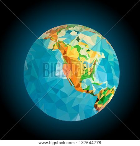 North America on the globe processed triangulation mode