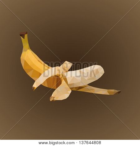 banana on a dark background in the treated triangulation mode