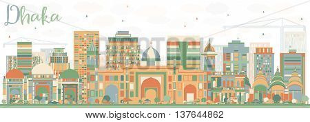 Abstract Dhaka Skyline with Color Buildings. Vector Illustration. Business Travel and Tourism Concept with Historic Buildings. Image for Presentation Banner Placard and Web Site.
