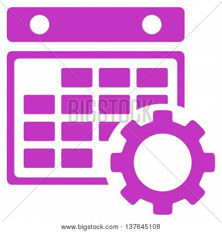 Plan Configuration vector icon. Style is flat symbol, violet color, rounded angles, white background.