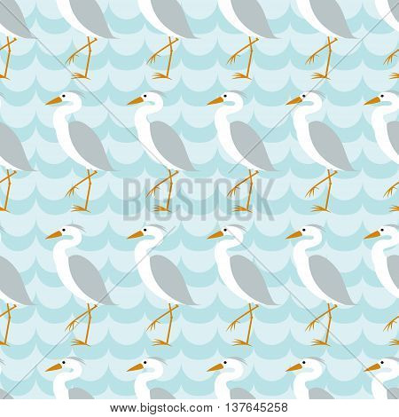 Seamless pattern with heron on blue wave background. Art vector illustration.