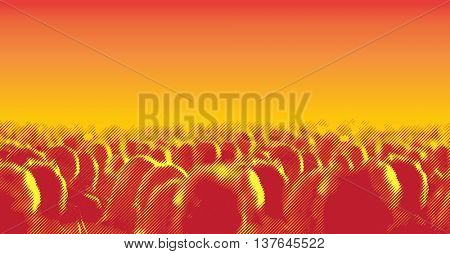 Large crowd of people watching concert or sport event. Vector illustration with halftone screen line effect