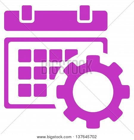Schedule Configuration vector icon. Style is flat symbol, violet color, rounded angles, white background.