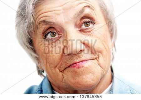 Old grandmother face on a white background