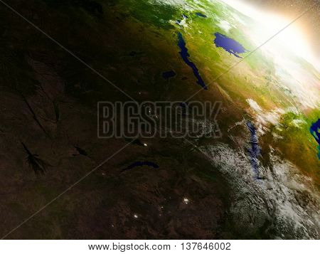 Zambia From Space During Sunrise