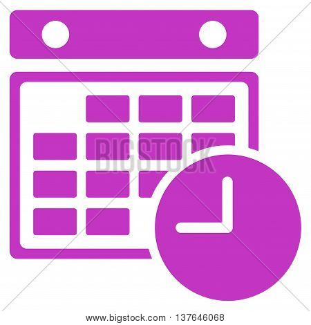 Time Dataset vector icon. Style is flat symbol, violet color, rounded angles, white background.