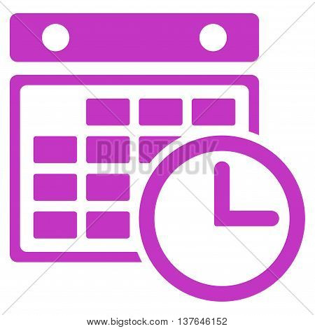 Timetable vector icon. Style is flat symbol, violet color, rounded angles, white background.