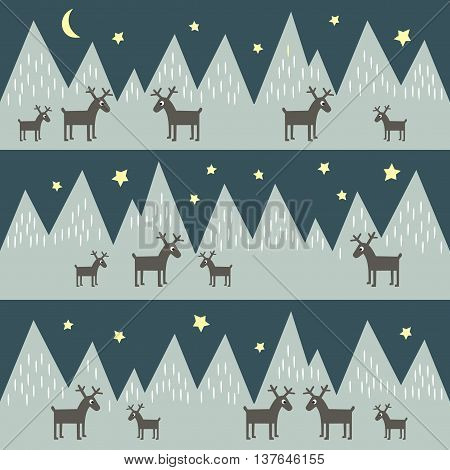 Seamless pattern with geometric snowy mountains and reindeers. Nature illustration. Mountains background. Polar night winter. Design for book cover, poster, card, textile, print on baby's clothes,