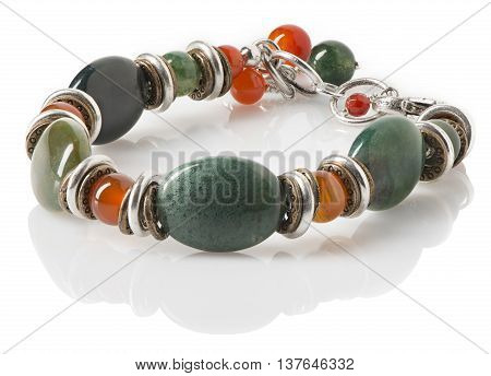 A women's silver fashion bracelet with polished moss agate stones and beads.