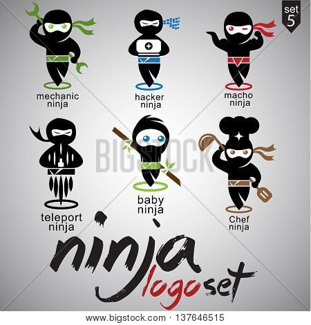 ninja logo set 5 includes 6 concepts designed in a simple way so it can be use for multiple proposes like logo ,marks ,symbols or icons.