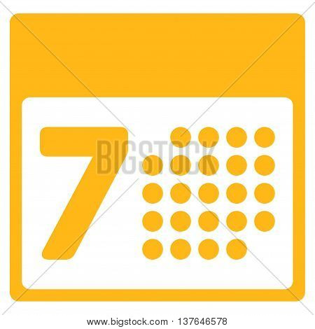 Binder Week vector icon. Style is flat symbol, yellow color, rounded angles, white background.