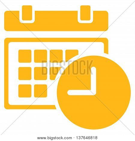 Date And Time vector icon. Style is flat symbol, yellow color, rounded angles, white background.