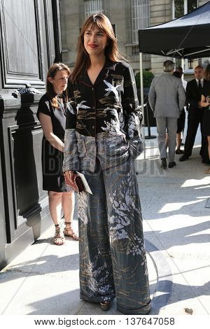 PARIS, FRANCE - JULY 06: Jeanne Damas attends the Valentino Haute Couture Fall/Winter 2016-2017 show as part of Paris Fashion Week. Outside arrivals.