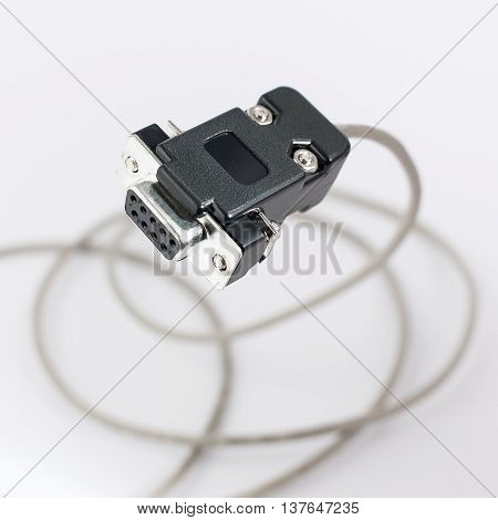 Com Rs232 Cable On White Background