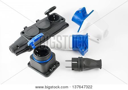 Variety Of Electric Power Plugs With Sockets