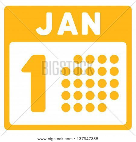 January First vector icon. Style is flat symbol, yellow color, rounded angles, white background.