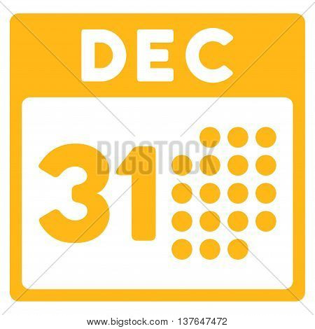 Last Year Day vector icon. Style is flat symbol, yellow color, rounded angles, white background.