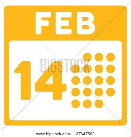 Romantic Valentine Day vector icon. Style is flat symbol, yellow color, rounded angles, white background.
