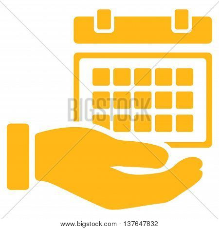 Service Timetable vector icon. Style is flat symbol, yellow color, rounded angles, white background.