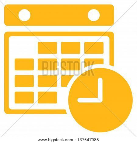 Time Dataset vector icon. Style is flat symbol, yellow color, rounded angles, white background.