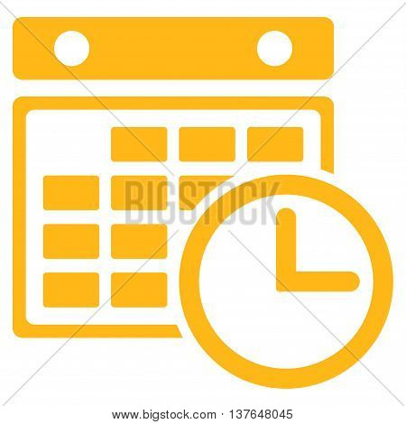 Timetable vector icon. Style is flat symbol, yellow color, rounded angles, white background.