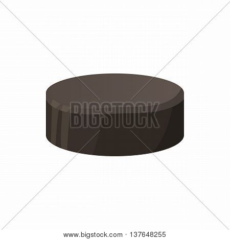 Hockey puck icon in cartoon style isolated on white background. Sport symbol