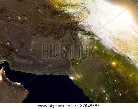 Afghanistan And Pakistan From Space During Sunrise