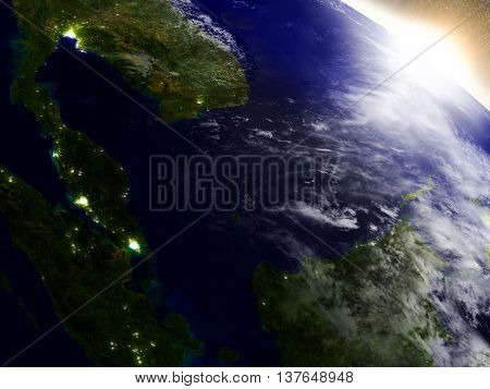 Malaysia From Space During Sunrise