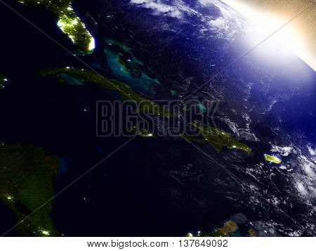 North Caribbean From Space During Sunrise