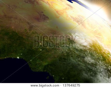 Niger And Nigeria From Space During Sunrise