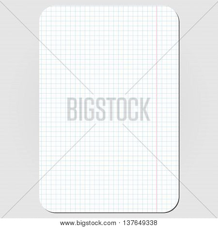 School white squared plaid paper sheet with round corners. Vector illustration, isolated design element
