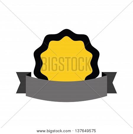 Label concept represented by seal stamp with ribbon icon. Isolated and flat illustration