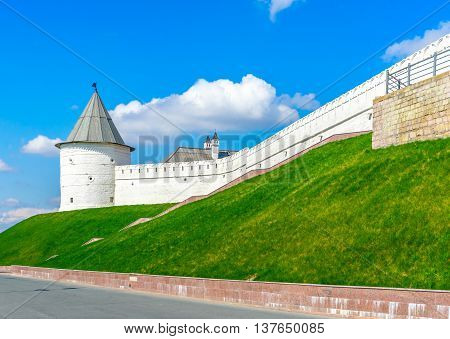The western tower of the Kazan Kremlin a medieval fortress in Russia