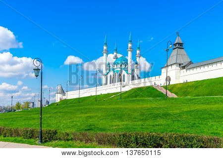 Medieval fortress and mosque Kul Sharif. View from Millennium Square in Kazan