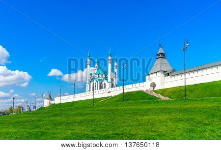 Kazan Kremlin. Medieval fortress in Russia. View from Millennium square
