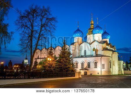 Cathedral of the Annunciation in Kazan Kremlin at sunset