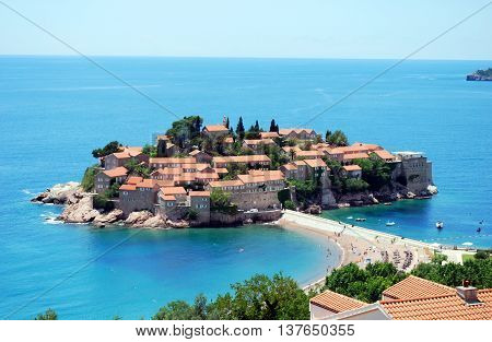Sveti Stefan Montenegro - June 14 2016 Vew to the Sveti Stefan Island in Montenegro