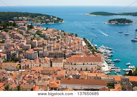The Hvar city in Croatia next to the sea