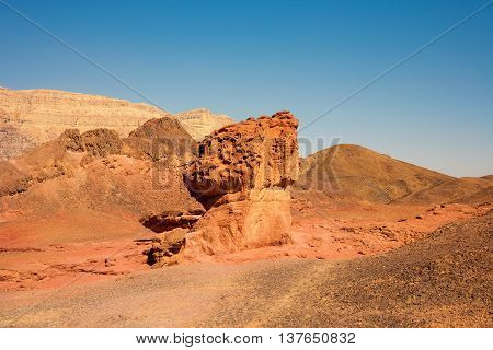 The Mushroom and the Half sandstone geological formations in Timna Park Israel