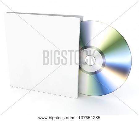 Blank compact disk on a white background