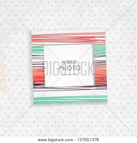 Vintage hipster retro stile. Decorative vector template frame. These photo prame can be use for kid picture or memories, scrapbook concept. Inset your picture.