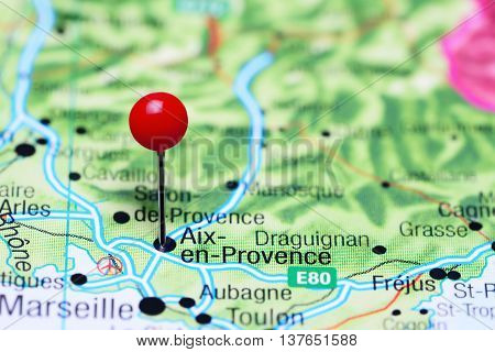 Aix-en-Provence pinned on a map of France