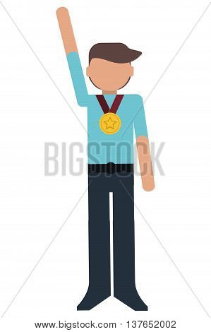 Young man winner with medal champion isolated vector illustration