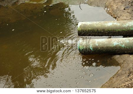 two industrial dirty PVC waste water pipe