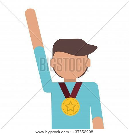 man winner medal champion award isolated vector illustration
