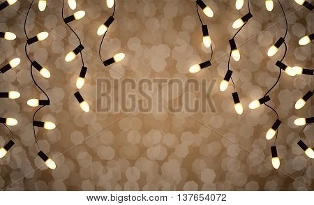 Vector set of Marry Christmas and other holidays garlands light on a transparent background with bokeh lights blur
