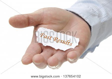 Business man holding fast results note on hand