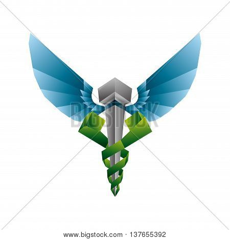 Medical and Health care concept represented by caduceus icon. Isolated and flat illustration