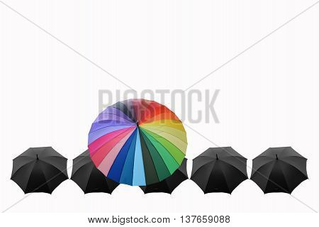 different businessman concept.Umbrellas are different from anything else.