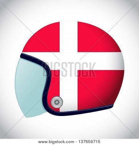 Vector stock of retro classic motorcycle helmet with Denmark flag